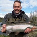 Taupo Flyfishing Guides client Daniel Love with Rainbow Trout