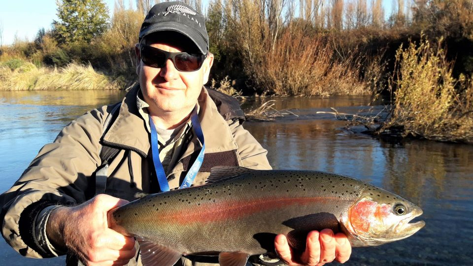 Early winter spawning rainbow trout caught fly fishing