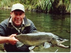 Taupo Fly fishing guide Steve Yerex with a monster brown trout